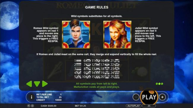 Mayflower featuring the Video Slots Romeo & Juliet with a maximum payout of $5,000