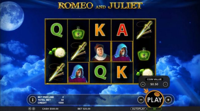 Spiral featuring the Video Slots Romeo & Juliet with a maximum payout of $5,000