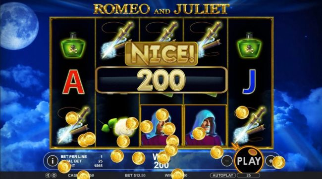 TheBesCasino featuring the Video Slots Romeo & Juliet with a maximum payout of $5,000