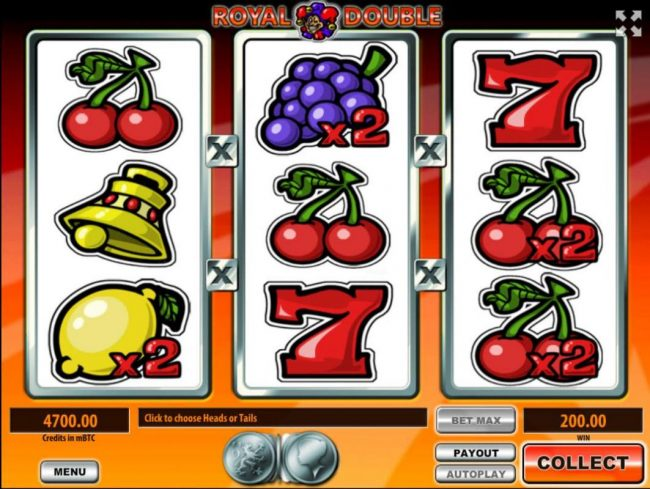 Royale24 featuring the Video Slots Royal Double with a maximum payout of $926,000