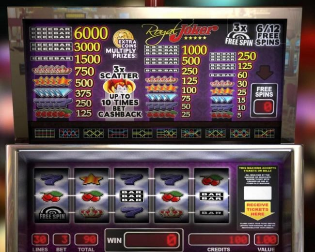 Elegant VIP featuring the Video Slots Royal Joker with a maximum payout of $18,000