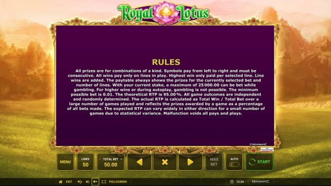 Fun Casino featuring the Video Slots Royal Lotus with a maximum payout of $50,000