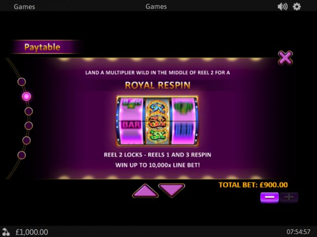 Rey8 featuring the Video Slots Royal Respin Deluxe with a maximum payout of $1,000,000