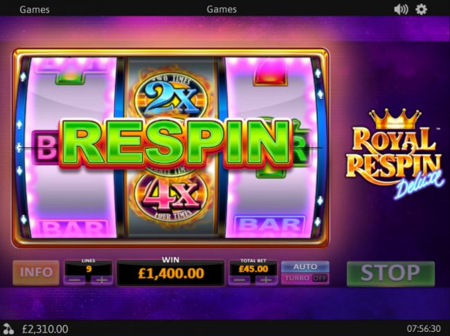 Slots Heaven featuring the Video Slots Royal Respin Deluxe with a maximum payout of $1,000,000