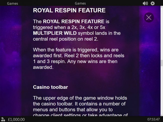 MANSION featuring the Video Slots Royal Respin Deluxe with a maximum payout of $1,000,000