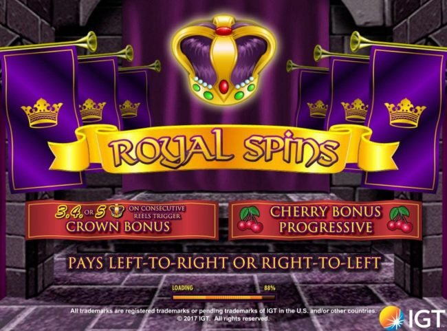 Caesars featuring the Video Slots Royal Spins with a maximum payout of $250,000