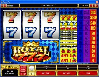 Heaven Bet featuring the video-Slots Royal 7's with a maximum payout of $12,500