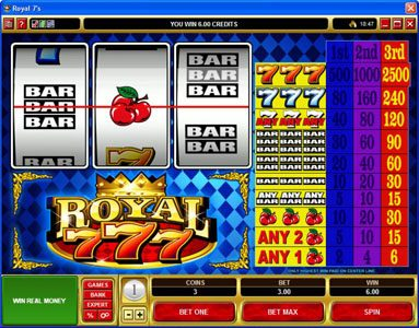 Play slots at Jackpot Mobile: Jackpot Mobile featuring the video-Slots Royal 7's with a maximum payout of $12,500