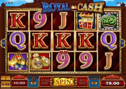 Money Reels featuring the Video Slots Royal Cash with a maximum payout of $100,000