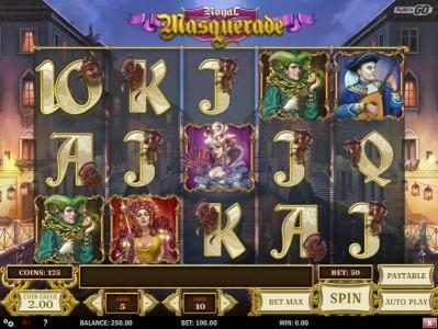 Royal Masquerade :: Main game board featuring five reels and 10 paylines with a $5,000,000 max payout