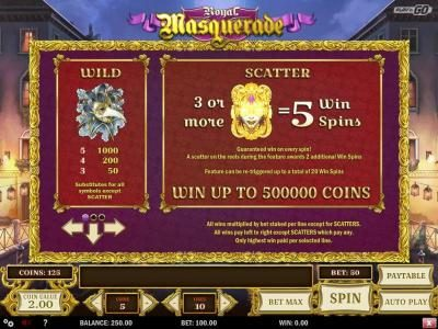 Royal Masquerade :: Wild and Scatter symbols paytable