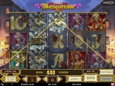 Royal Masquerade :: A 440 coin payout triggered by multiple winning paylines.