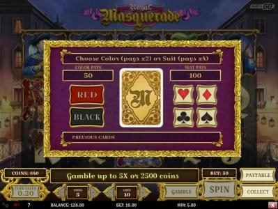 Unique Casino featuring the Video Slots Royal Masquerade with a maximum payout of $5,000,000