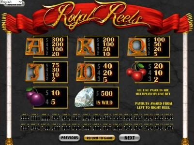 Royal Reels :: slot game symbols paytable and payline diagrams