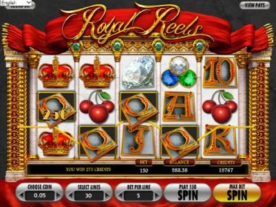Royal Reels :: multiple winning paylines triggers a 275 credit award