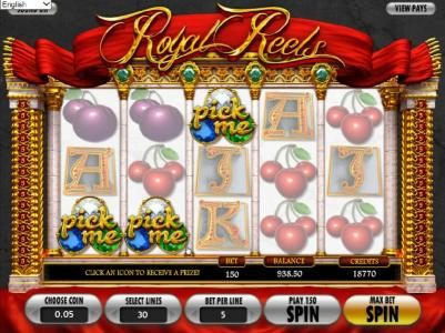 Black Diamond featuring the Video Slots Royal Reels with a maximum payout of $7,500