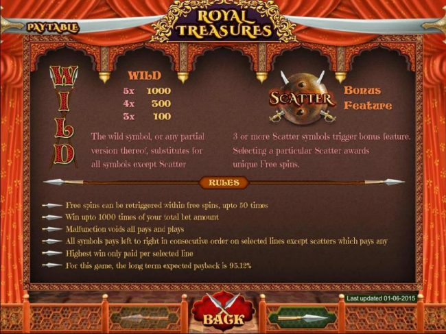 My Touch featuring the Video Slots Royal Treasures with a maximum payout of $500