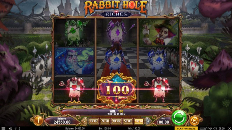 Rabbit Hole Riches :: A three of a kind win