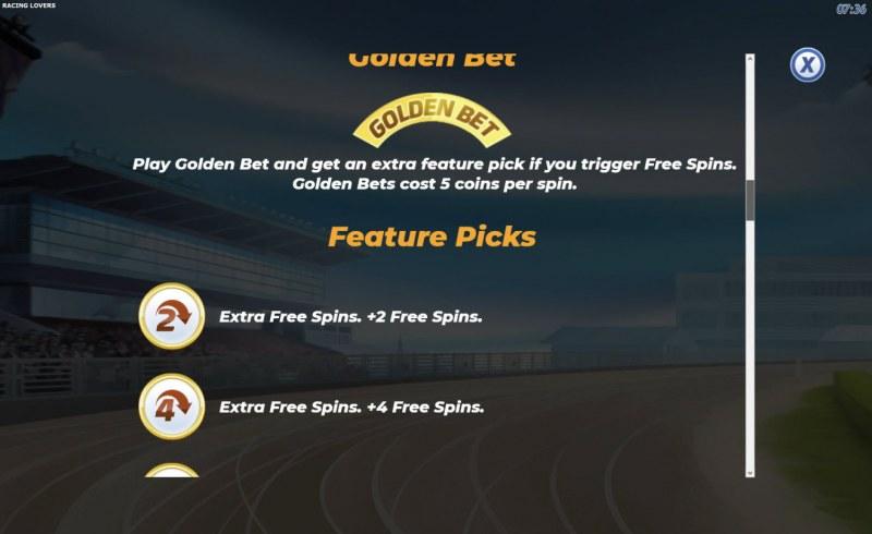 Racing Lovers :: Golden Bet Feature