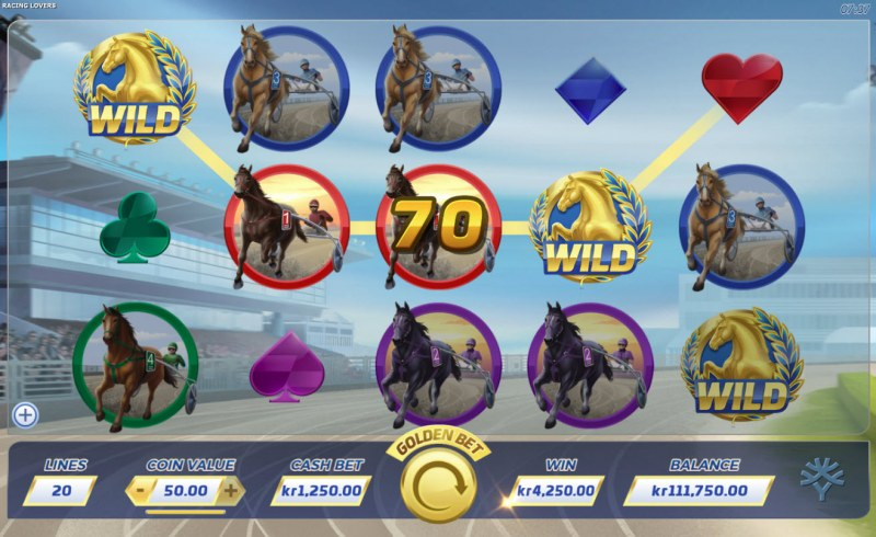 Play slots at Wildz Casino: Wildz Casino featuring the Video Slots Racing Lovers with a maximum payout of $50,000