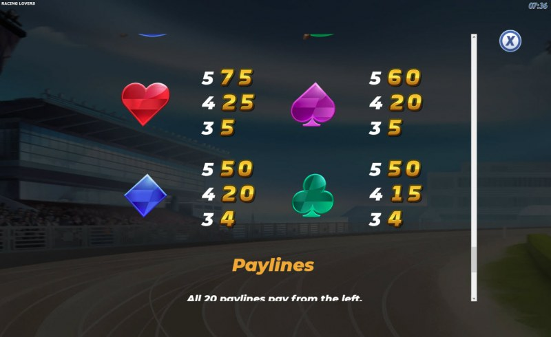 Racing Lovers :: Paytable - Low Value Symbols