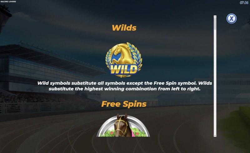 Racing Lovers :: Wild Symbols Rules
