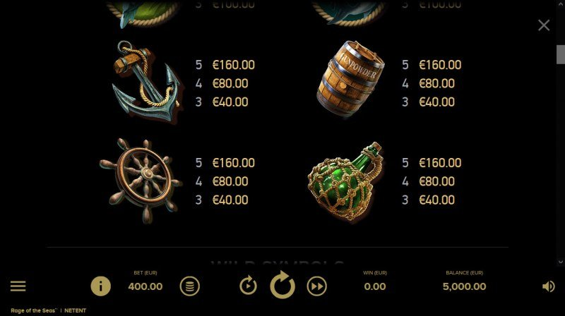 Rage of the Seas :: Paytable - Low Value Symbols