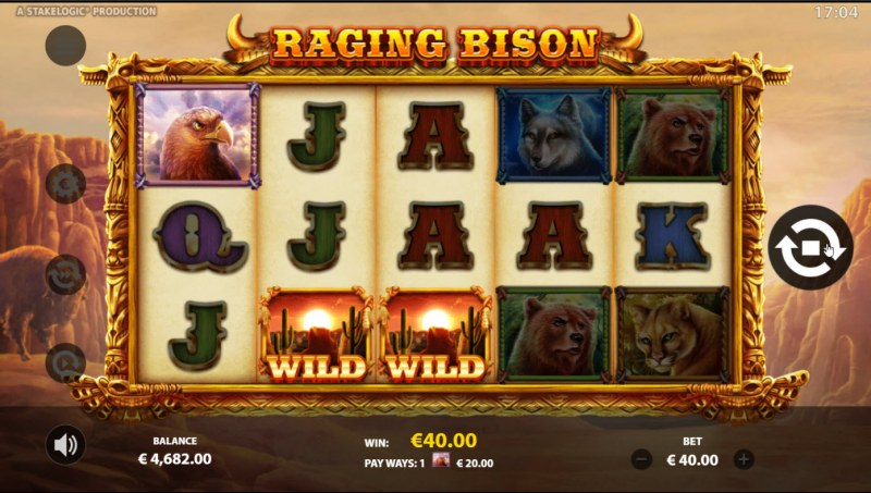 Raging Bison :: A three of a kind win