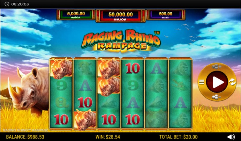 Raging Rhino Rampage :: Multiple winning paylines