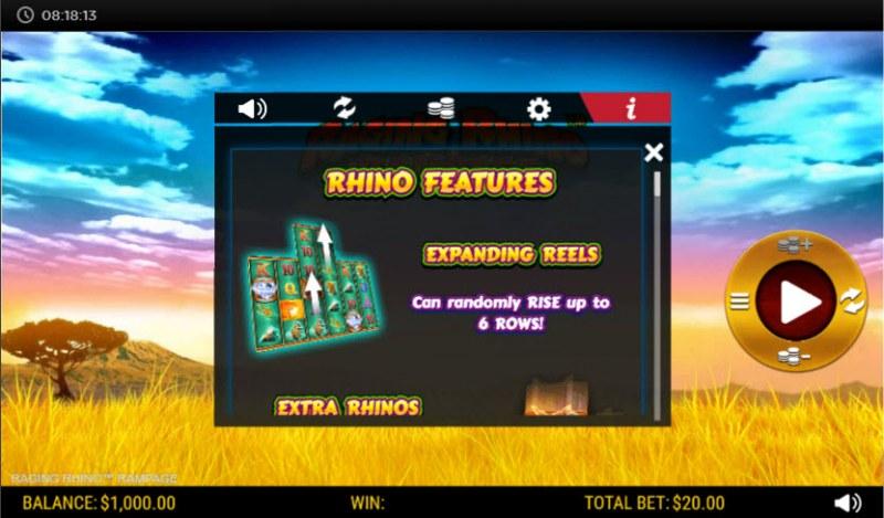 Raging Rhino Rampage :: Expanding reels
