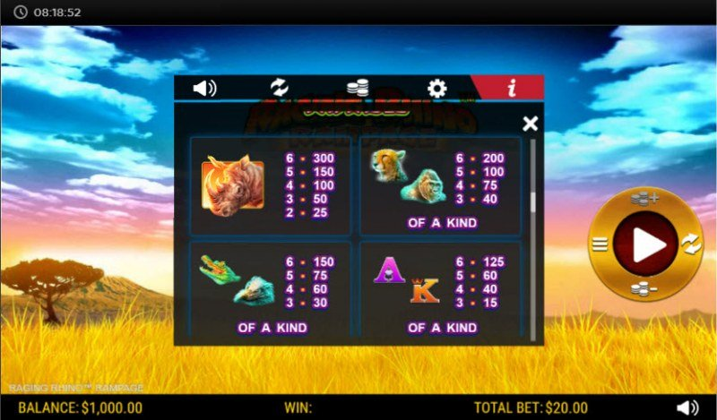Raging Rhino Rampage :: Paytable - High Value Symbols