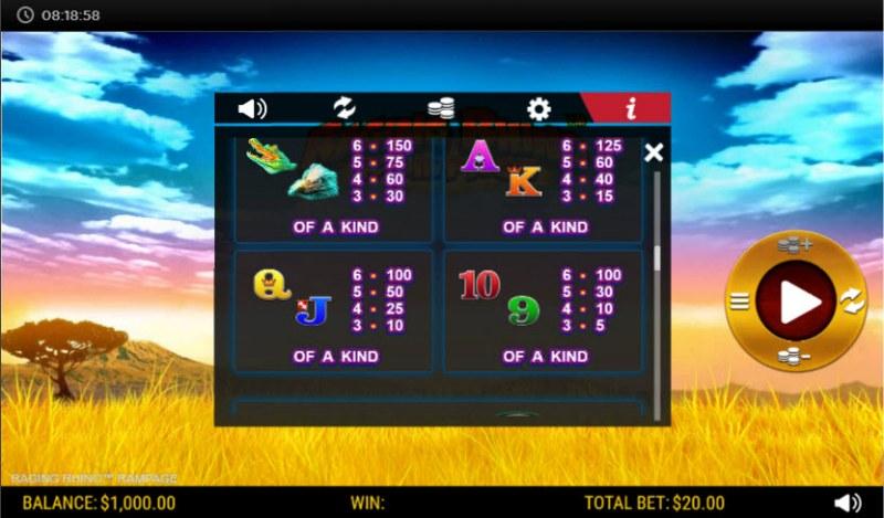 Raging Rhino Rampage :: Paytable - Low Value Symbols