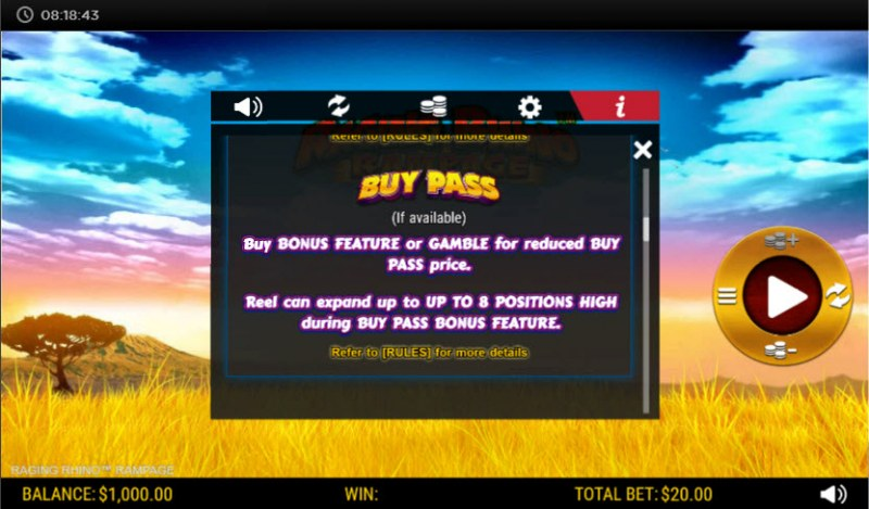 Raging Rhino Rampage :: Buy Pass Feature