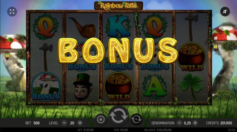 Rainbow Falls :: Scatter symbols triggers bonus feature