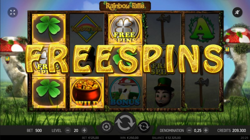 Rainbow Falls :: Scatter symbols triggers the free spins feature