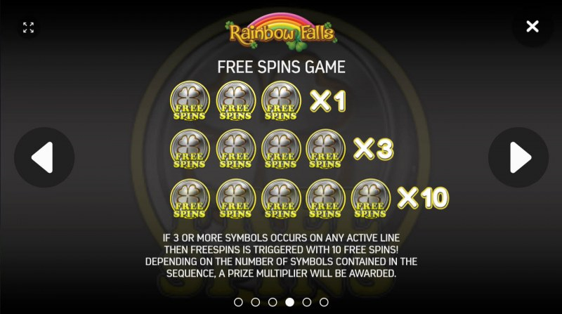Rainbow Falls :: Free Spins Rules
