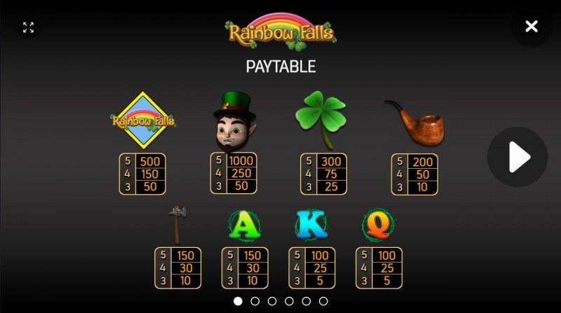 Rainbow Falls :: Paytable