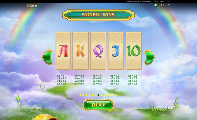 Rainbow Jackpots Power Lines :: Paytable - Low Value Symbols