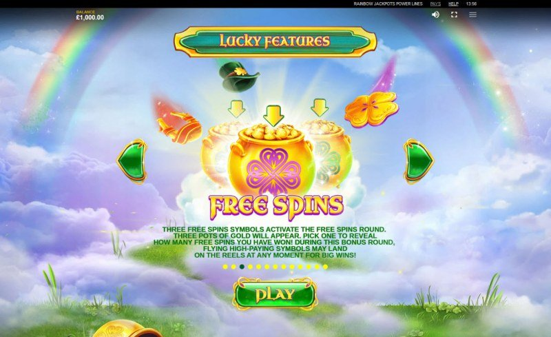 Rainbow Jackpots Power Lines :: Free Spins Rules