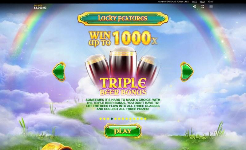 Rainbow Jackpots Power Lines :: Triple Beer Bonus