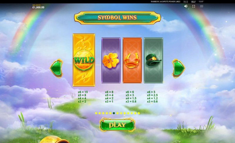 Rainbow Jackpots Power Lines :: Paytable - High Value Symbols