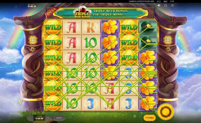 Rainbow Jackpots Power Lines :: Multiple winning paylines