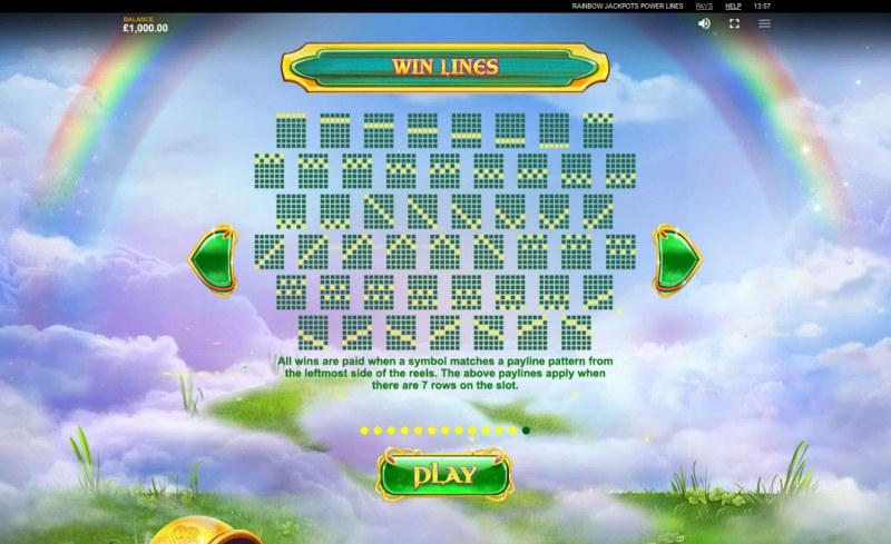 Rainbow Jackpots Power Lines :: Paylines 1-49