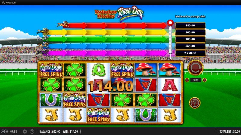 Rainbow Riches Race Day :: Scatter symbols triggers the free spins bonus feature