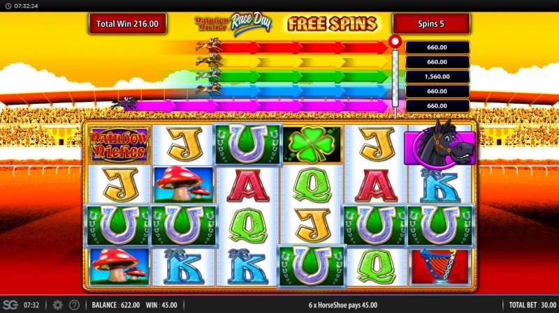 Rainbow Riches Race Day :: Horse symbols appearing on the reels advance towards corresponding pot