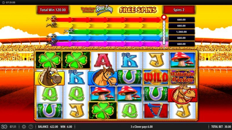 Rainbow Riches Race Day :: Free Spins Game Board
