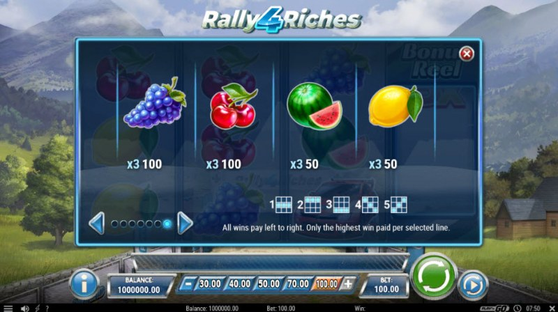 Rally 4 Riches :: Paytable - Low Value Symbols