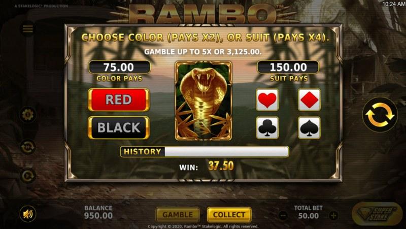 Rambo :: Gamble Feature Game Board