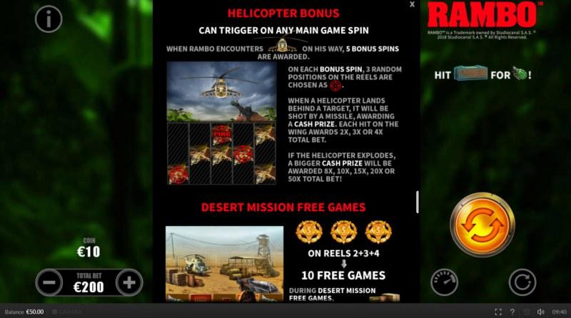 Rambo :: Bonus Game Rules