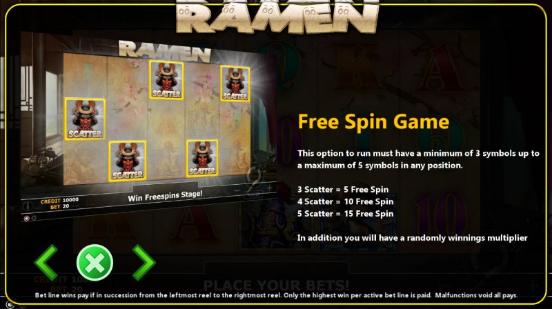 Ramen :: Free Spins Rules